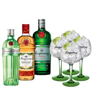 COMBO TANQUERAY Ten 750ml + Sevilla 700ml + London Dry 750ml + 4 Taças Importadas