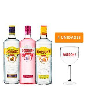 Combo Trio Gin Gordon'S + 4 Taças Gordon'S