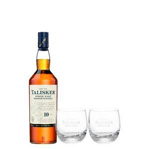 Whisky Talisker 10 Anos 750Ml + 2 Copos De Vidro Talisker 300 Ml