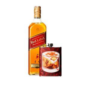 Combo Johnnie Walker Red Label 1L + Flask Personalizada Deserto