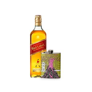 Combo Johnnie Walker Red Label 1L + Flask Personalizada Vulcão