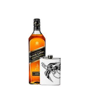 Combo Johnnie Walker Black Label 1L + Flask Personalizada Águia