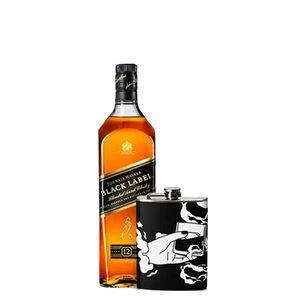 Combo Johnnie Walker Black Label 1L + Flask Personalizada Zippo