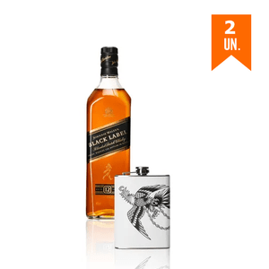 Combo 2 Johnnie Walker Black Label 1L + Flask Personalizada Águia