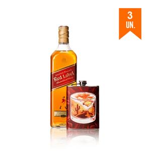 Combo 3 Johnnie Walker Red Label 1L + Flask Personalizada Deserto