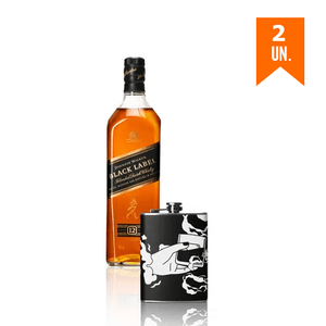 Combo 2 Johnnie Walker Black Label 1L + Flask Personalizada Zippo