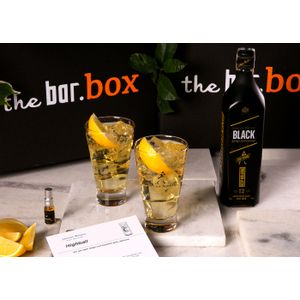 THEBAR.BOX: BOX DE HIGHBALL COM JOHNNIE WALKER BLACK LABEL EMBALAGEM COMEMORATIVA 200 ANOS