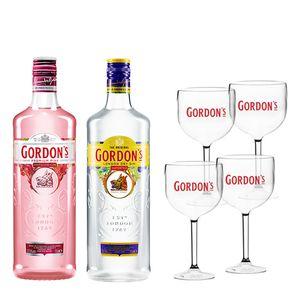 Combo Gin Gordon'S 750Ml + Gin Gordon'S Pink 700Ml + 4 Taças Gordon'S